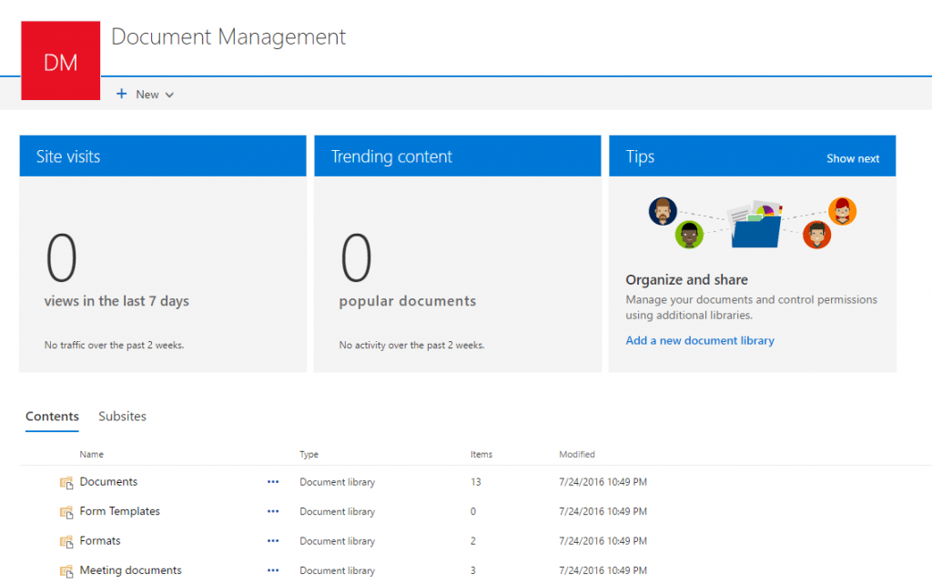 SharePoint Site experience